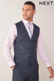 Navy/Black Check Suit: Waistcoat