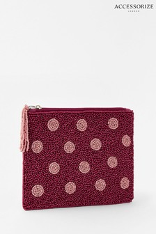 Accessorize Red Beaded Spot Pouch Bag