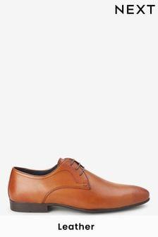 Tan Regular Fit Leather Plain Derby Shoes