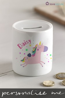 Personalised Unicorn Money Box by Loveabode