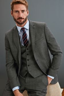 Grey Jacket Signature Birdseye Slim Fit Suit