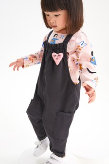Pink Heart Dungarees And T-Shirt Set (3mths-7yrs)