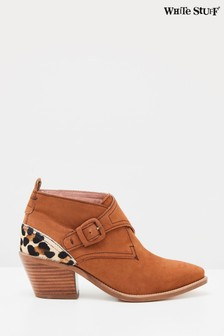 White Stuff Tan Western Monk Ankle Boots
