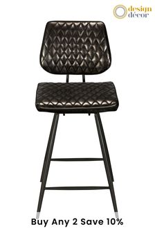 Faux Leather Tarnished Black Carson Bar Stool By Design Décor