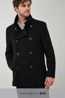 Black   Wool Rich Double Breasted Jacket
