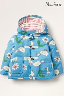 Boden Blue Showerproof Printed Duffle Coat