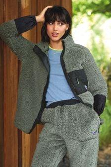 Khaki/Black Next Elements Cosy Borg Zip Jacket