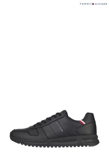 Tommy Hilfiger Black Modern Corporate Leather Runner Trainers