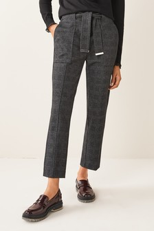 Grey Check Ponte Belted Taper Trousers
