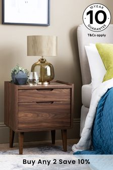Walnut Oslo 2 Drawer Bedside Table