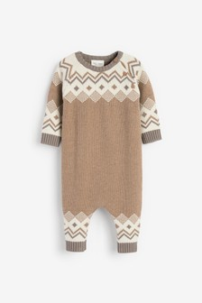 Oatmeal Argyle Pattern Knitted Romper (0mths-2yrs)