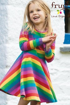 Frugi Pink GOTS Organic Rainbow Full Skirt Skater Dress