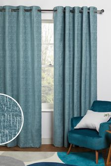 Teal Blue Heavyweight Chenille Eyelet Lined Curtains