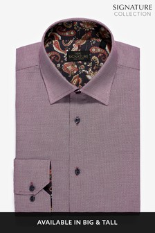 Burgundy Regular Fit Single Cuff Trim Detail Signature Shirt