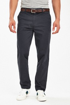 Navy Straight Fit Premium Chinos With Leather Belt
