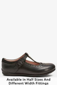 Black Wide Fit (G) Leather T-Bar Leather Shoes
