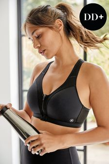 Black High Impact Zip Front Sports Bra