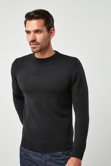 Black Crew Neck Soft Touch Jumper