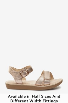 Rose Gold Leather Standard Fit (F) Little Luxe Sandals
