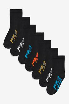 Black Camo 7 Pack Cotton Rich Footbed Socks (Older)