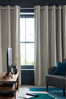 Silver Grey Soft Velour Eyelet Lined Curtains