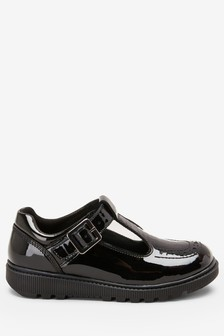 Black Patent Leather Chunky T-Bar Shoes