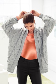 Grey  Chunky Cable Cardigan
