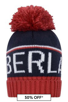 Boys Red And Navy Bobble Hat