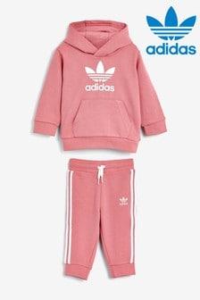 adidas Originals Infant Pink Trefoil Hoodie And Joggers Set