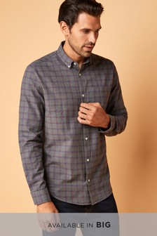 Navy/Orange   Check Long Sleeve Shirt