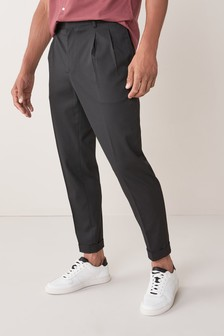 Black Twin Pleat Trousers