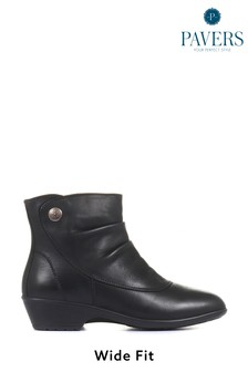 Pavers Black Ruched Ladies Leather Wide Fit Ankle Boots