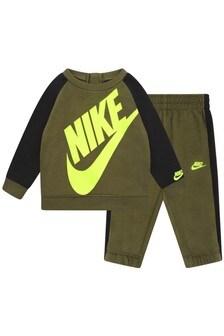 Baby Boys Khaki Cotton Oversized Futura Logo Tracksuit