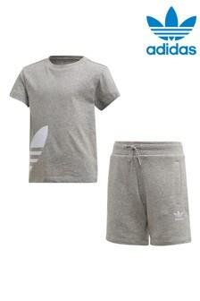 adidas Originals Little Kids Grey T-Shirt And Shorts Set