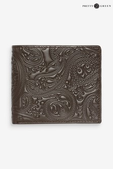 Pretty Green Brown Paisley Embossed Leather Wallet