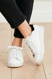 White With Black Signature Leather Lace-Up Trainers