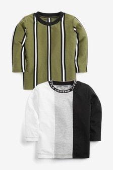 Khaki/White Vertical Stripe T-Shirts 2 Pack (3mths-7yrs)