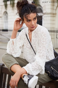 Mint Velvet Off-White Star Jacquard Blouse