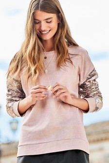 Blush  Sequin Sleeve Sweater