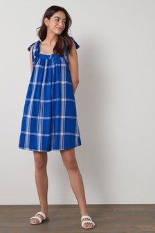 Blue Check Tie Shoulder Mini Dress