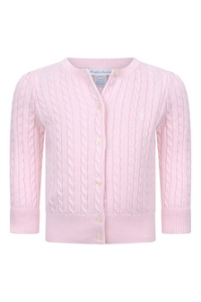 Baby Girls Pink Cotton Cable Knit Cardigan