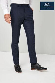 Navy Trousers Nova Fides Wool Blend Flannel Slim Fit Suit