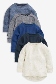Blue 5 Pack Long Sleeve T-Shirts (3mths-7yrs)