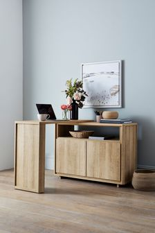 Oak Effect Bronx Swivel Desk