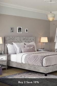 Sumptuous Velour Silver Paris Bed