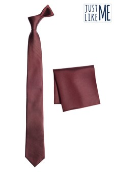 Burgundy Slim Silk Tie And Pocket Square Set