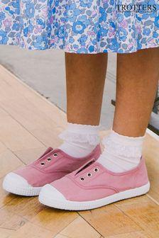 Trotters London Rosa Plum Canvas Shoes