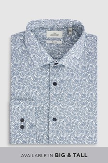 e512848971d White Blue Paisley Print Shirt