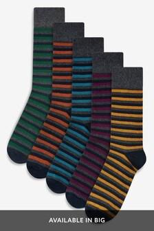 Charcoal Marl Stripe Socks Five Pack