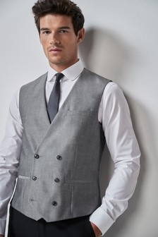Light Grey Suit: Double Breasted Waistcoat